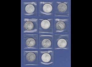 Bundesrepublik Anlage-Lot 11 Stück 10-€ Silber-Gedenkmünzen Franz Liszt 2011