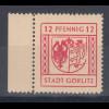 Lokalausgaben Stadt Görlitz, Mi.-Nr. 16 mit Plattenfehler I gebrochenes Wappen