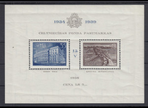 Lettland 1938 Blockausgabe Baufonds Mi.-Nr. Block 2 **