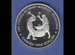 Kanada Silbermünze 1 Dollar 1988 250 Jahre Eisenproduktion in Kanada, PP