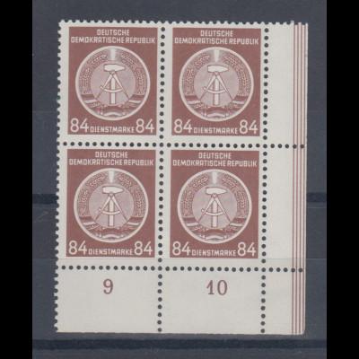 DDR Dienstmarken A Höchstwert 84Pfg Mi.-Nr. 17 XI Eckrand-Viererblock **