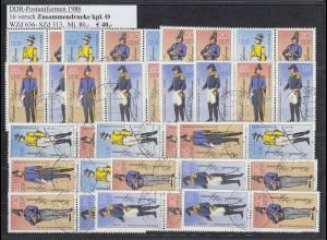 DDR Postuniformen 1986 Mi.-Nr. 2997-3000, 16 ZSD kpl. Garnitur echt O