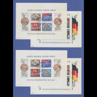 DDR 1953 Karl Marx Blocks kpl. Garnitur alle echt gestempelt GREIZ, gepr. BPP