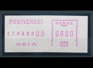 Norwegen Schalterfreistempel von 1980, lila, Wert 0630 Öre, ohne Unterlinie