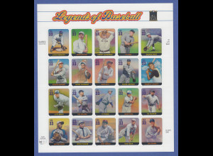 USA 2000: Legends of Baseball 20 Werte Mi.-Nr. 3337-56 ** im Folienbogen
