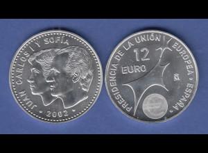 Spanien 2002 Silbermünze zu 12 Euro EU-Ratspräsidentschaft / Carlos und Sofia