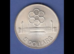 Singapur 1973 Silbermünze 5 Dollars Sevent Seap Games Nationalstadion st