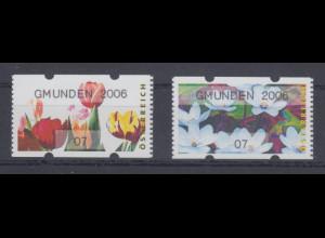 Österreich Sielaff-ATM Blumen Mi.-Nr. 6-7 GMUNDEN 2006 je Kleinwert 07 **