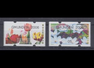 Österreich Sielaff-ATM Blumen Mi.-Nr. 6-7 GMUNDEN 2006 je Kleinwert 05 **