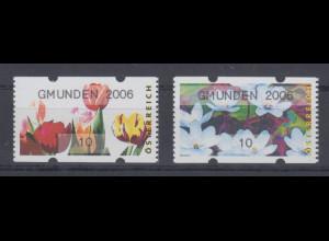 Österreich Sielaff-ATM Blumen Mi.-Nr. 6-7 GMUNDEN 2006 je Kleinwert 10 **