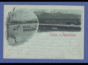 AK Gruss aus Rosenheim a. Inn, Ansicht bei Mondschein, gelaufen 1899