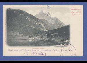 AK Gruss aus Lautersee b. Mittenwald, Wetterstein, gelaufen 1899