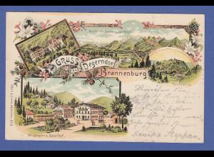 AK Gruss aus Degerndorf, Schloss Brannenburg, Petersberg, gelaufen 1898