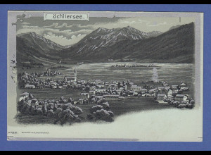 AK Schliersee, Mondschein Ansicht, Silberapplikation, gelaufen 1902
