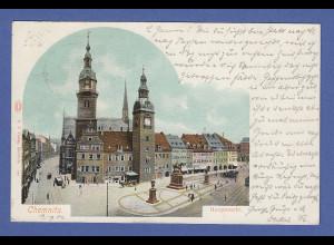 AK Chemnitz Hauptmarkt gelaufen 1902