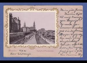 AK Dresden Dampfschifflandeplatz im goldenen Prägerahmen gelaufen 1901
