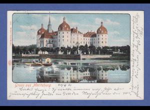 AK Gruss aus Moritzburg, schön mit Spiegelung, gelaufen 1901