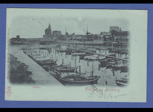 AK Gruss aus Colberg Hafen gelaufen 1898, Bahnpost !