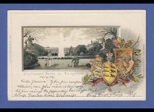 AK Stuttgart Parthie am Anlagensee dekorativ mit Prägedruck, gelaufen 1902