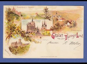 AK Gruss aus dem Thüringer Land verschiedene Ansichten, gelaufen 1898