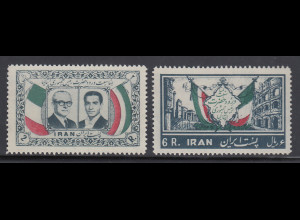 Persien / Iran 1957 Besuch des ital. Präsidenten Gronchi, Mi.-Nr. 996-97 **