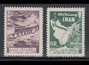 Persien / Iran 1958 Eisenbahnlinie Teheran-Täbris , Mi.-Nr. 1026-27 **