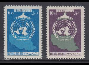 Persien / Iran 1958 Tag der Vereinten Nationen UNO , Mi.-Nr. 1028-29 **