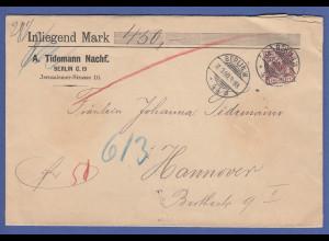 Dt. Reich 50 Pfg. Adler Mi.-Nr. 50 als EF auf Wertbrief von Berlin -> Hannover