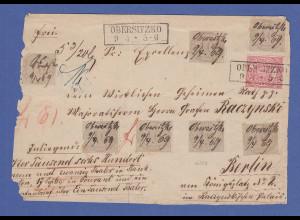 Nordd. Bund 1869 Wertbrief-Vorderseite mit 7x Mi.-Nr. 25 ect. aus OBERSITZKO
