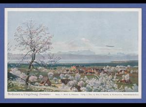 AK Bodensee-Nordufer, im Hintergrund Zeppeli, Zeno Diemer-Karte, ungelaufen
