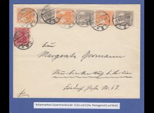 Dt. Reich Germania Rollenmarken-Zusammendrucke S12a und S14a auf Brief Cottbus