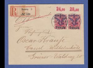 Danzig Flugpostmarke Mi.-Nr. 52 OBERRAND-Paar als portogrer. MEF auf R-Brief !
