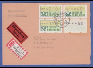 Deutschland ATM Mi-Nr.1 Gummidruck in MIF auf R-Express Brief aus Quickborn 1981