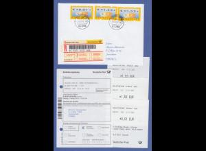Deutschland ATM Mi.-Nr. 4 FDC 1.1.02 mit Werten €0,01 und 2x 1,53 gel. n. Israel