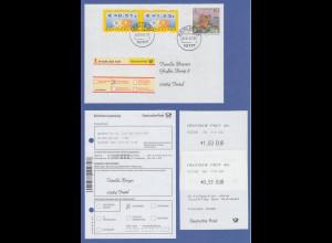 Deutschland ATM Mi.-Nr. 4 R-FDC mit O Berlin 1.1.02 mit Werten €0,51 und 1,53