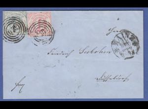 Thurn und Taxis Mi.-Nr. 21 und 22 auf Brief 1860 gel. ab Mainz