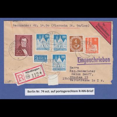 Berlin Lortzing Mi.-Nr. 74 und weitere Werte auf RNN-Brief Nördlingen -> München