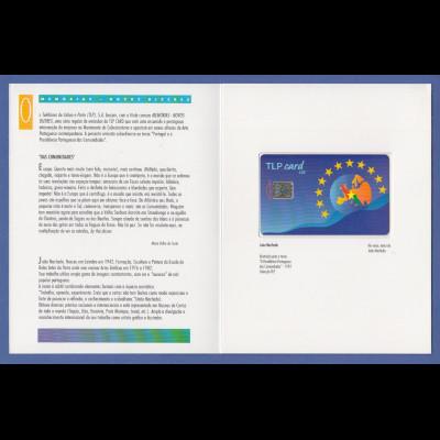 Portugal Telefonkarte 1992 TLP-Card Joao Machado im offiz. Folder. Selten !