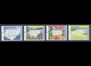 Schweiz FRAMA-ATM 1996, Landschaften in den 4 Jahreszeiten, je eine ATM 0010 **