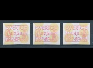 Schweden FRAMA-ATM 1991, Satz 3 Werte 2,30 - 2,50 - 4,00 Kr. **