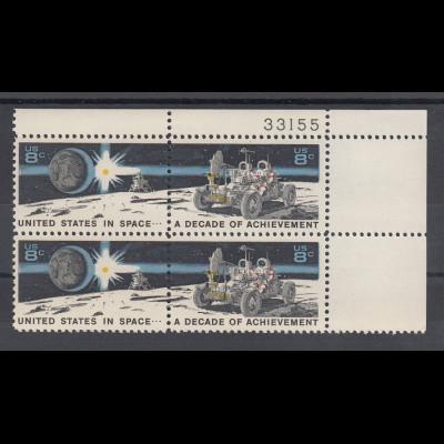 USA 1971 Raumfahrt Mond-Auto, Zusammendruck-4er-Block mit Plattennummer **