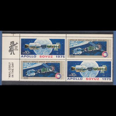 USA 1975 Raumfahrt: Kopplung Sojuz-Apollo ZSD-4er-Block mit ZIP-Code / Mail **