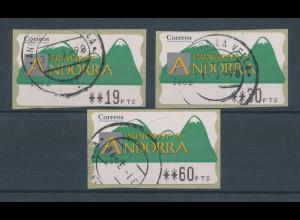 Andorra ATM Nr.1, Satz 3 Werte 19-30-60 gestempelt