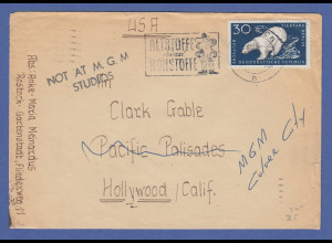 Brief 1957 aus der DDR gelaufen an Hollywood Filmstar Clark Gable !!