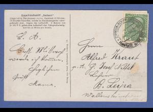 "Zeppelin-Postkarte LZ17 ""Sachsen"" Experimental-Fahrt Liegnitz-Haida 9.11.1913"