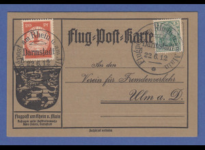 Dt. Reich Flugpost am Rhein und Main 20Pfg mit PLF auf Karte Darmstadt 22.6.12