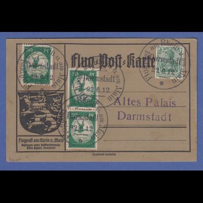 Dt. Reich Flugpost am Rhein und Main 3x30Pfg auf Karte Darmstadt 22.6.12