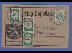 Dt. Reich Flugpost am Rhein und Main 3x30Pfg auf Karte Darmstadt 23.6.12 PF Mond