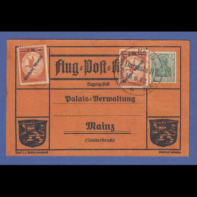 Dt. Reich Flugpost am Rhein und Main Gelber Hund 2x auf Karte Darmstadt 18.6.12