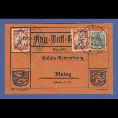 DR Flugpost am Rhein und Main Gelber Hund 2x a. Karte Darmstadt 18.6.12 PF Huna